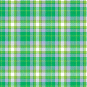 Green, lilac and white plaid.