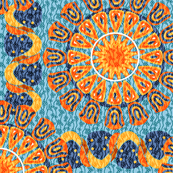 Bohemian Rosettes and Borders in Blue and Orange