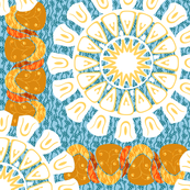 Bohemian Rosettes and Borders in Golds Blue and White