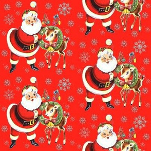 Santa deer red silver snowflakes glitter vintage retro