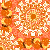 Bohemian Rosettes and Borders in Corals Yellow and White