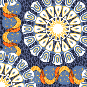 Bohemian Rosettes and Borders in Blue Oranges and White TWO