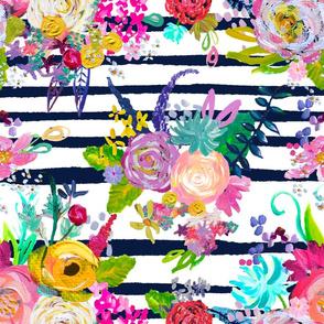 Rainbow Painted Garden // Navy Stripe (Version 2)