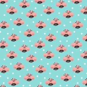 Hand-Drawn Pink Flowers-Teal