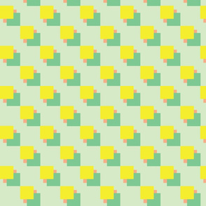 stacked squares Coral, Green and Yellow