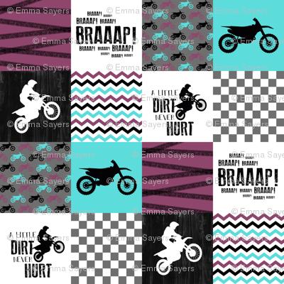 Motocross//A little Dirt Never Hurt//Purple&Aqua - Wholecloth Cheater Quilt