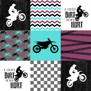 Motocross//A little Dirt Never Hurt//Purple&Aqua - Wholecloth Cheater Quilt