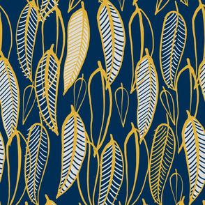 gum leaves inspired blue large