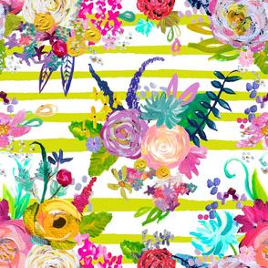 Rainbow Painted Garden // Chartruese Stripes