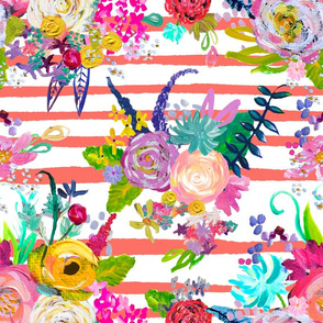 Rainbow Painted Garden // Living Coral Stripes
