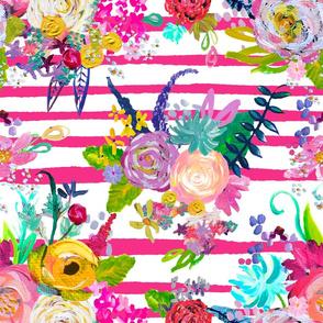 Rainbow Painted Garden // Hot Pink Stripe