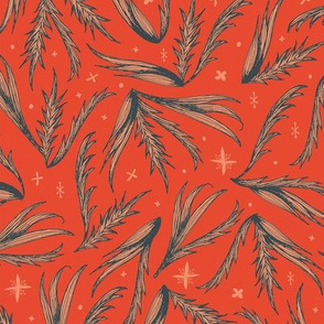 sketched leaves on red