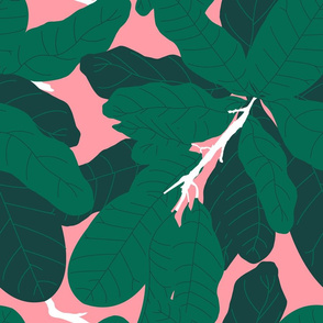 Tropicana Banana Leaves in Palm Springs Pink + Emerald Green