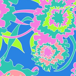 Hawaiian Tropical Floral in Neon Blue + Lime