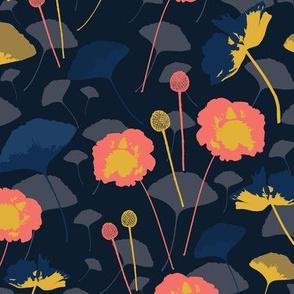 Coral Floral Poppy Dark