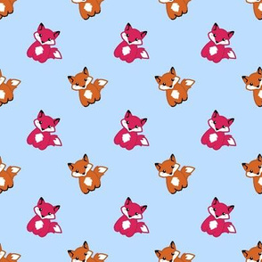Cute foxes on blue