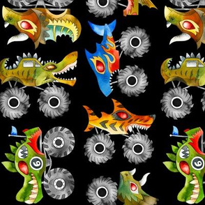 watercolor scary animal monster cars - black, small