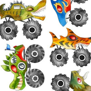 watercolor animal monster cars - white, large