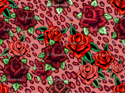 rockabilly roses leopard in burgundy and red