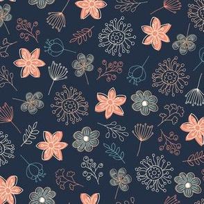 Cute Pastel Flowers - Blue