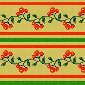 Christmas Bohemian Vine and Flower Stripe in Green and Red