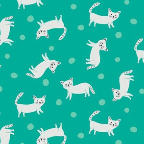 Cats all over on Teal