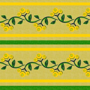 Bohemian Vine and Flower Stripe in Green and Yellow