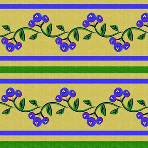 Bohemian Vine and Flower Stripe in Green and Blue