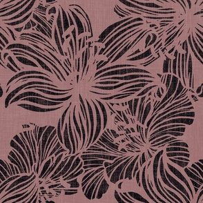 big tropical florals in dusty pink on linen