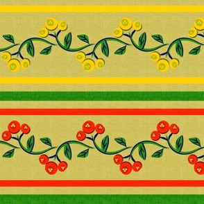 Bohemian Vine and Flower Stripe in Green Red and Yellow
