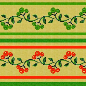 Christmas Bohemian Vine and Flower Stripe in Red and Green