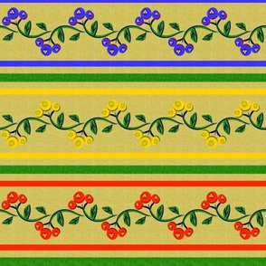 Bohemian Vine and Flower Stripe in Red Yellow Blue and Green