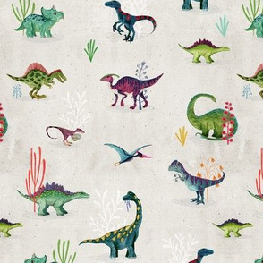 Colourful Ditsy Dinosaurs