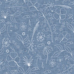 Skeleton florals blue