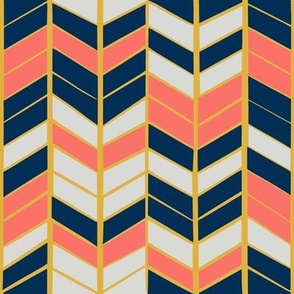 Coral & Navy Herringbone - Small