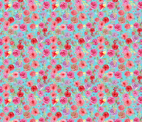 All Over Vintage roses  turquoise fabric by dreamoutloudart on Spoonflower - custom fabric