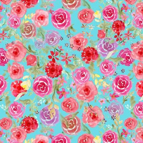 All Over Vintage roses  turquoise