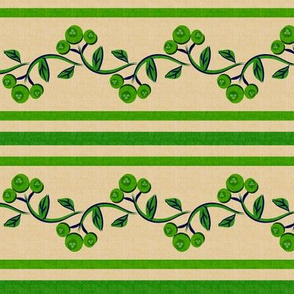Bohemian Vine and Flower Stripe Beige with Green