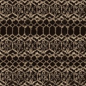 Shibori tie dye net in charcoal