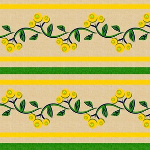 Bohemian Vine and Flower Stripe Beige with Yellow