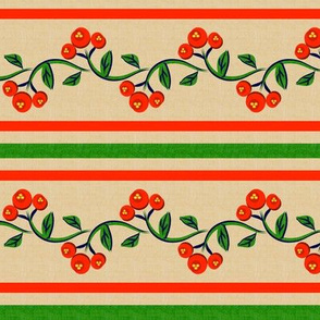 Bohemian Vine and Flower Stripe Beige with Red