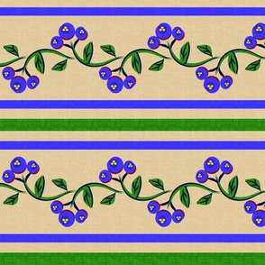 Bohemian Vine and Flower Stripe Beige with Blue