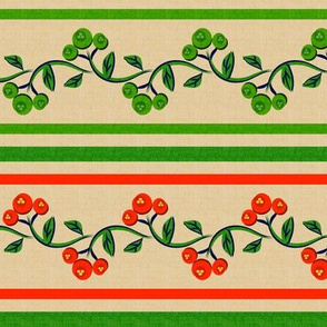 Christmas Bohemian Vine and Flower Stripe Beige with Red and Green
