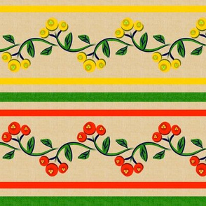 Bohemian Vine and Flower Stripe Beige with Red and Yellow