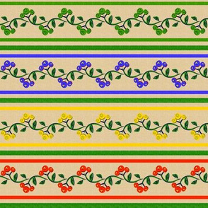 Bohemian Vine and Flower Stripe Beige with Red Blue Green and Yellow