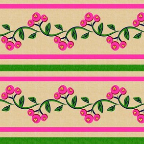 Bohemian Vine and Flower Stripe Beige with Pink