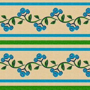 Bohemian Vine and Flower Stripe Beige with Teal Blue