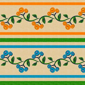 Bohemian Vine and Flower Stripe Beige with Teal Blue and Orange
