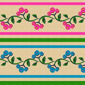 Bohemian Vine and Flower Stripe Beige with Teal Blue and Pink