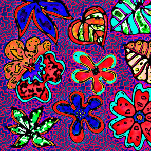 neon bohemian plants purple pink red ground
